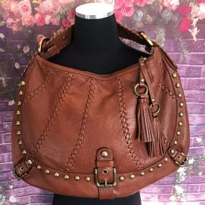 Isabella Fiore Studded Cognac Leather Hobo Bag